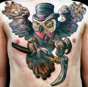 Cool Owl Chest Tattoo