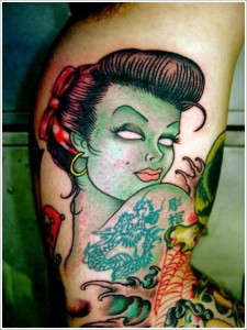 Scary face of a zombie tattoo design