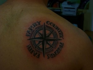 Compass tattoo design with words