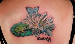 Frog and lotus tattoo design