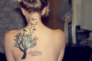 Lovely birds and tree tattoo design