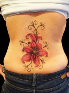 Attractive red lily tattoo design