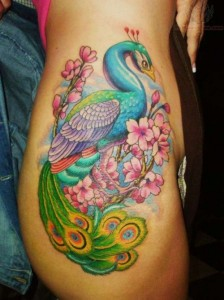 Sexy peacock with flowers hip tattoo design