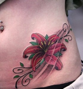Sexy red lily tattoo