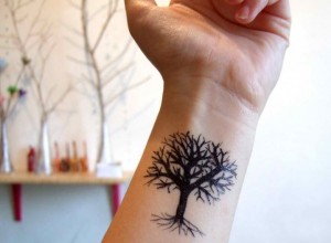 simple design of a small tree tattoo