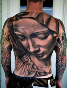 3D Mother Mary tattoo design for men