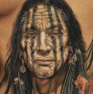 3D Red Indian's face tattoo design for men