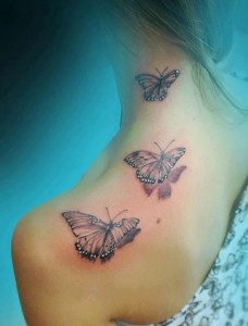 3D back of the neck and shoulder butterfly tattoo design