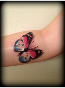 3D blue and black butterfly tattoo design