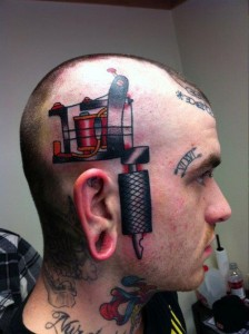 3D machine on side of head tattoo design for men