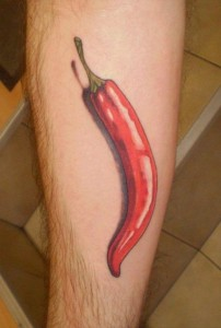 3D red chilly tattoo design for men