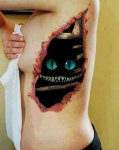 3D skin rip with monster in the darkness tattoo design