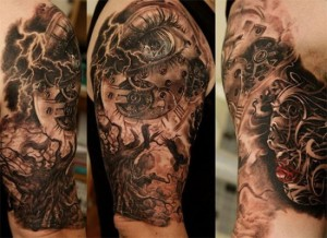 3D tree and machine tattoo design for men
