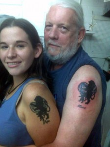Lion and heart father daughter matching tattoo designs