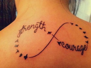 Birds infinity tattoo sign on the back