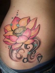 Bubbles and heart lotus flower tattoos