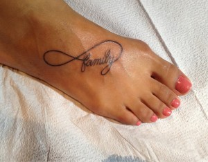 Infinity foot tattoo for girls
