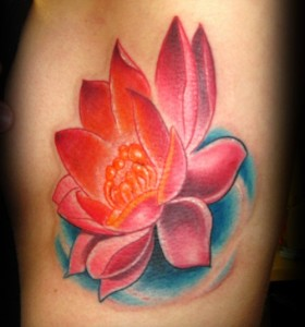 Lotus flower tattoo design with blue shaded water