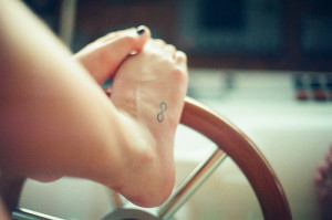 Small foot infinity tattoo for girls