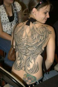 Sexy full back tattoo for girls