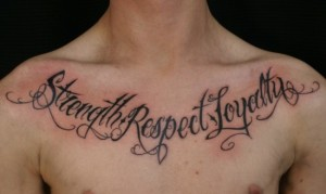 Short quote chest tattoos for men