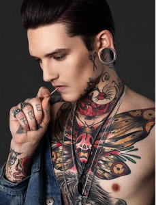 Goth chest tattoos for men