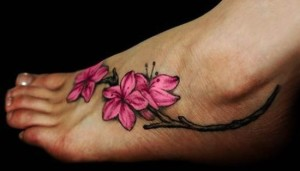 Floral ankle tattoos for women