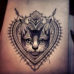 3D Cat And Heart Tattoo