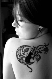Back Cat And Flower Tattoo