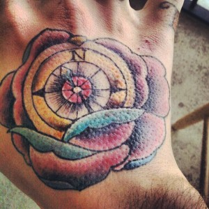 Colourful Compass And Rose Tattoo