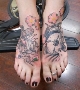 Compass And Anchor Tattoo On Feet