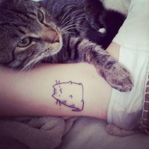 Ankle Chubby Cat Tattoo