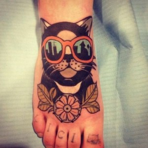 Cute Foot Cat With Shades Tattoo