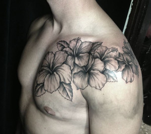 Black And White Hibiscus Shoulder Tattoo