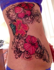 Blooming Hibiscus Side Tattoo