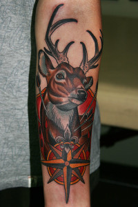 Deer And Arrows Arm Tattoo