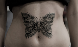 Delicate Butterfly Lace Waist Tattoo