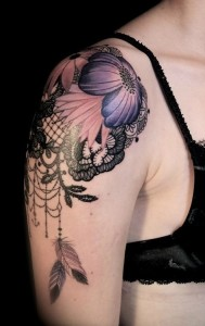 Flower And Lace Shoulder Tattoo