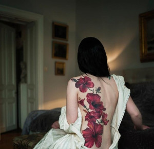 Lovely Hibiscus Back Tattoo