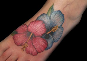Red And Blue Hibiscus Foot Tattoo