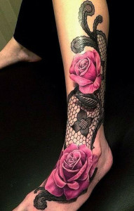 Seductive Lace With Roses Tattoo