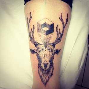 Traditional Deer Thigh Tattoo