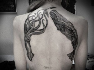Squid And Whale Back Tattoo