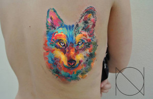 Wolf Face Back Tattoo