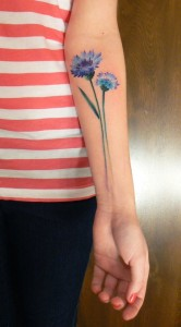 Adorable Blue Flowers Tattoo
