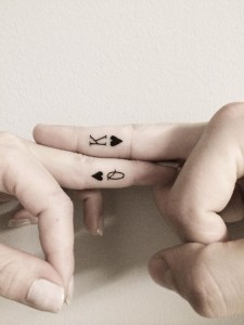 Card Lovers Couple Finger Tattoos