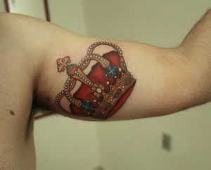 Colorful Crown Arm Tattoo