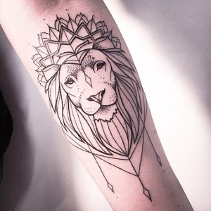 Cool Crowned Lion Arm Tattoo