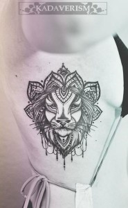 Crowned Lion Side Bod Tattoo