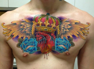 Delicate Crown Chest Tattoo